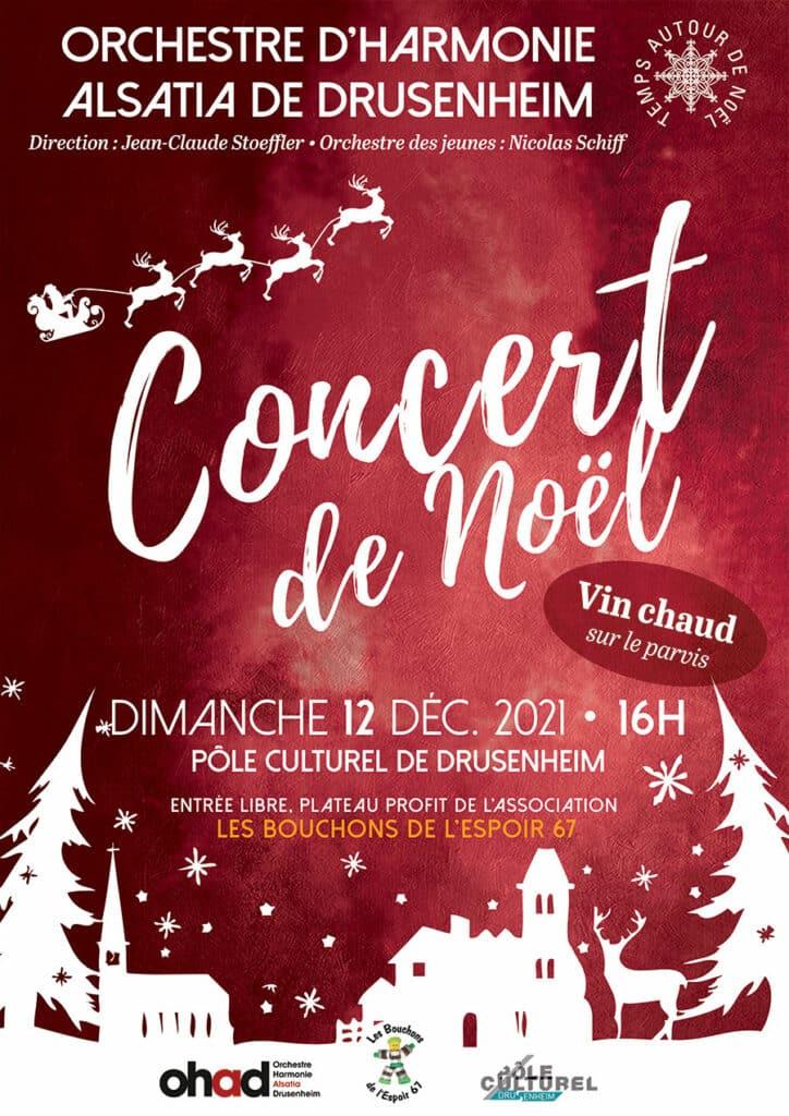 Concert de Noël 2021 à Drusenheim, orchestre d'harmonie Alsatia